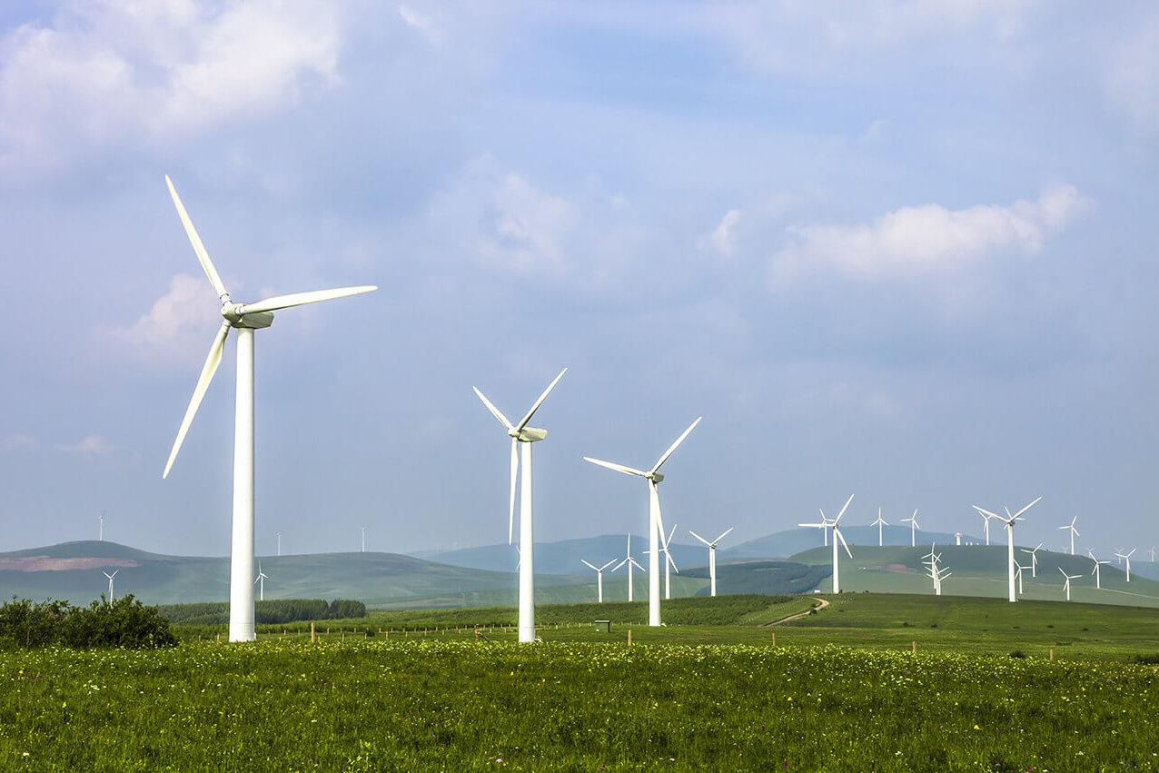 Field of wind turbines with aluminium honeycomb