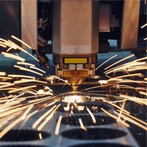 Laser bed cutting sparks