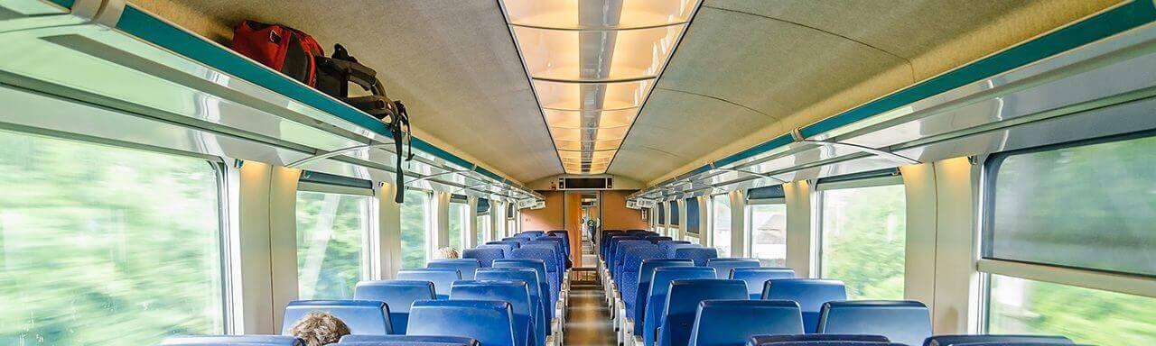 Rail interior with aluminium honeycomb